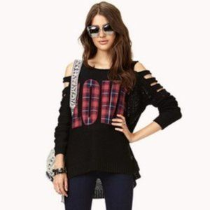 Cool Forever 21 Cut Out Sweater, LOVE in plaid